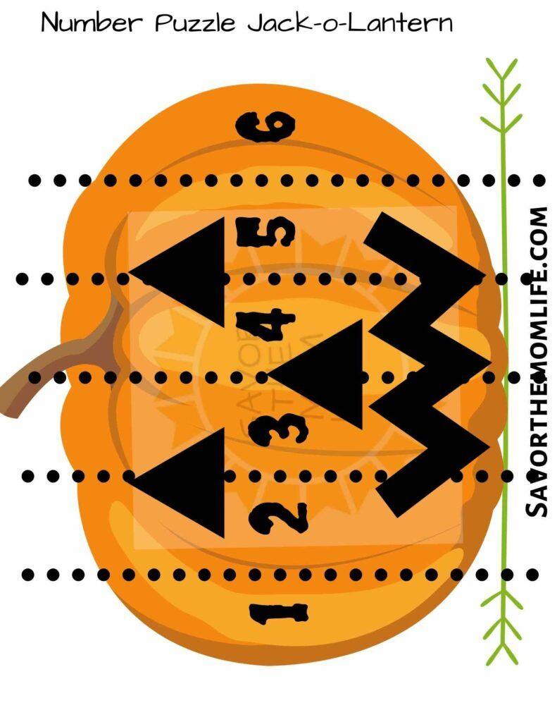 Number Puzzle Jack-o-Lantern
