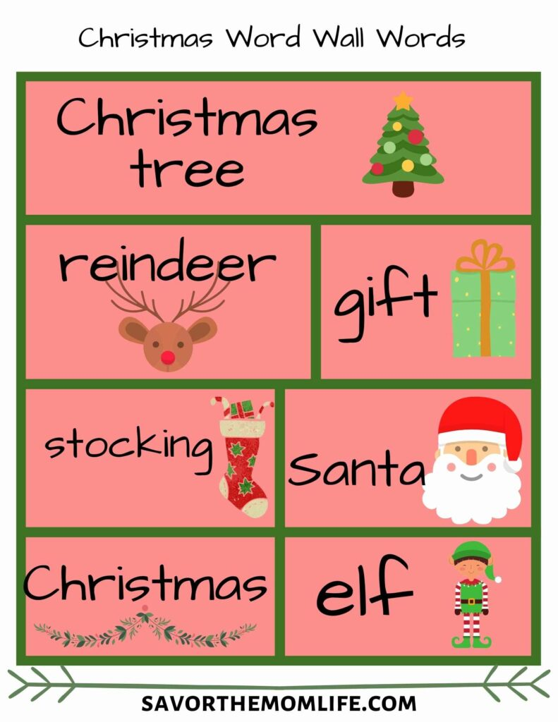 Christmas Busy Box Word Wall Words
