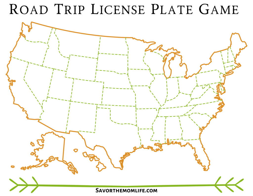 Road Trip License Plate Game- Blank States