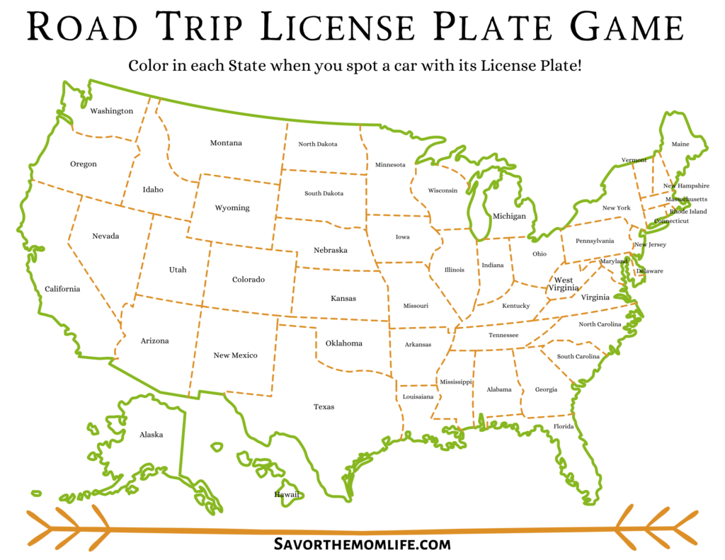 Road Trip License Plate Game- With State Names