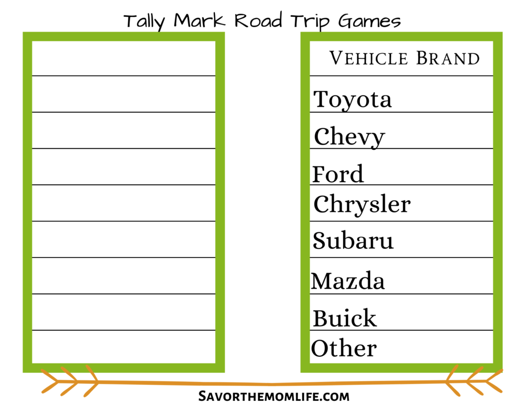 Tally Mark Road Trip Games