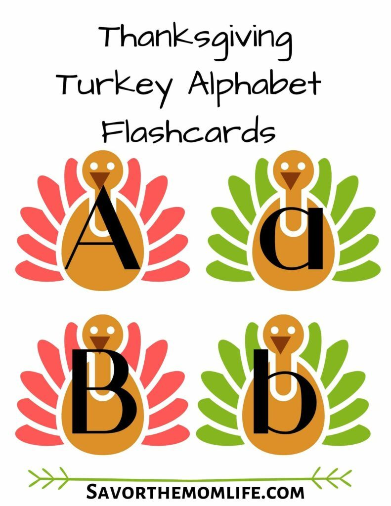 Thanksgiving Turkey Alphabet Flashcards