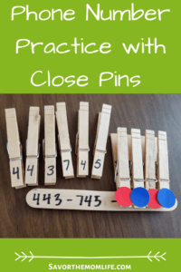 Phone Number Practice with Close Pins