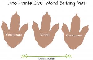Dino Prints CVC Word Building Mat