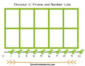 Dinosaur 10 Frame and Number Line