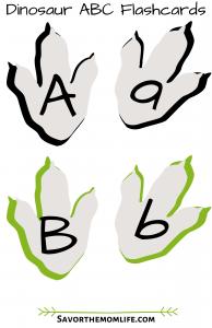 Dinosaur Claw Print ABC Flashcards
