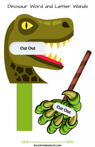 Dinosaur Word and Letter Wands. Dino Face and Claw