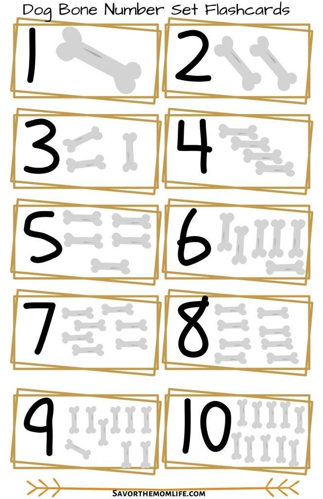 Dog Bone Number Set Flashcards
