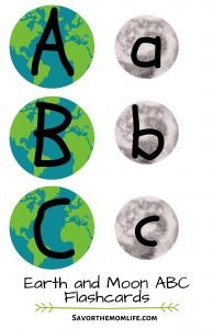 Earth and Moon ABC Flashcards