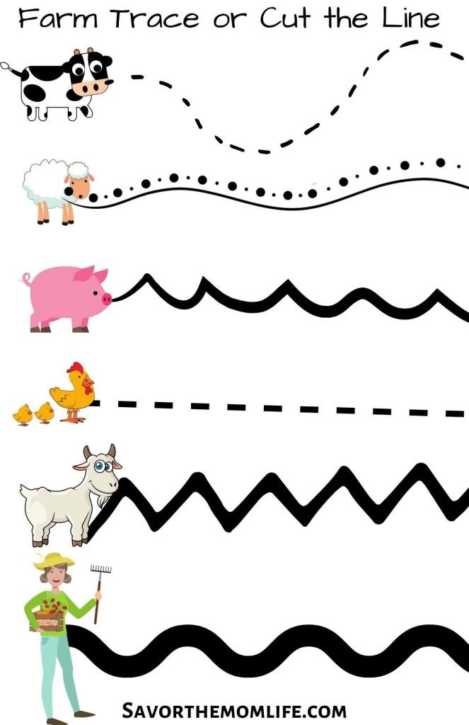 Farm Trace the Line Worksheet