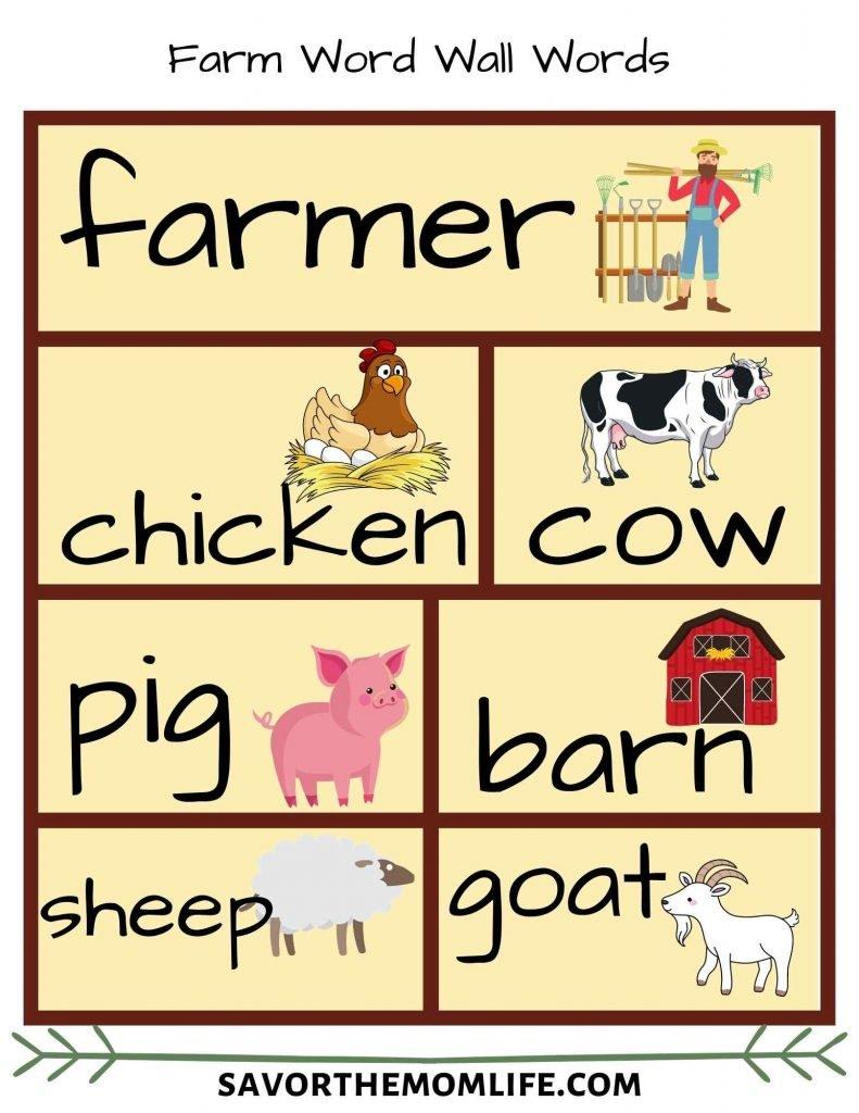 Farm Word Wall Words